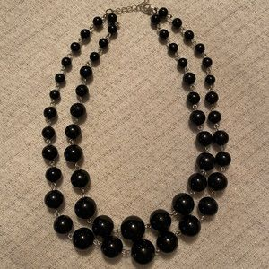 Two Strand Black Bead Necklace